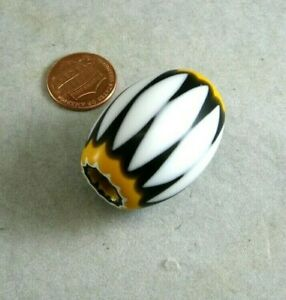 Chevron White Black Orange African Trade Bead New 6 layer Cane Glass 27x35mm