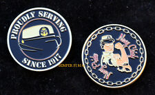 CHIEF PETTY OFFICER E7 FEMALE CHALLENGE COIN US NAVY CPO PIN UP PROMOTION WAVE