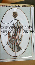 ELEGANT LADY STAINED GLASS PATTERN for WINDOW or MIRROR - ART NOUVEAU