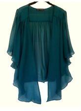 Womens Teal Blue Plus Size 2X Chiffon Cardigan Bolero Shrug Top WearOrGoBare