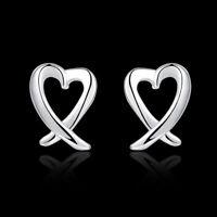 ASAMO Damen Ohrstecker Schleifenherz Herz 925 Sterling Silber plattiert O1055