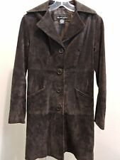 New York & Company 100% Leather 4 Button Closure Lined Long Coat Size - XS