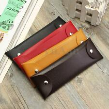 4 Color Multifunctional Vintage Soft Leather Button Pen Pencil Case Pouch Bag