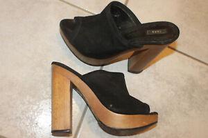 ZARA High Heel Plateau Stiletto Clogs Zoccoli Sabot Mules Vintage Pantolette 38