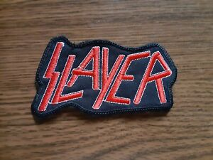 SLAYER,SEW ON RED AND WHITE EMBROIDERED PATCH