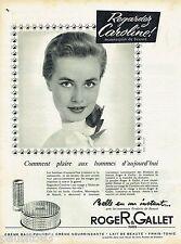 PUBLICITE ADVERTISING 115  1957  ROGER & GALLET maquillage poudre rouge à lèvres