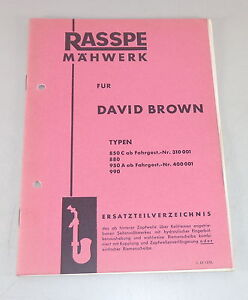 Parts Catalog Rasspe Mower For David Brown Tractor Stand 02/1963