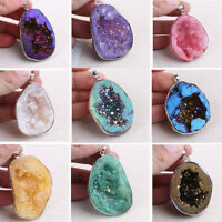 Natural Agate Rock Quartz Crystal Irregular Pendant DIY Necklace Jewelry Making