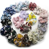 25PC/Pack Satin Floral Hair Scrunchies Strong Elastic Hair Rope Ties Mode  New