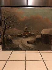 Vintage Oil On Canvas Painting. Snow Scene. Horses. Ranch. 1800s??  LOOK!!