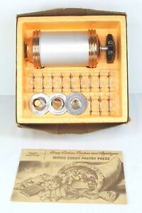 Mirro Cookie Pastry Press Complete w/ 12 Plates, 3 Pastry Tips, Box, Instruction