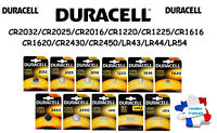 Piles Cells boutons lithium Duracell CR2032/2025/2016/1616/1620/1220/LR44/LR54
