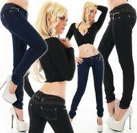 Damen Hüft Jeans Stretch Denim Hose Röhrenjeans 5 Pocket Zipper XS-XL