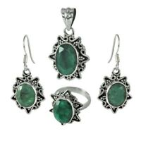 Handmade Solid 925 Sterling Silver & Emerald Pendant Ring Earrings Set 925163