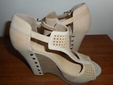 e18ce82778d7 GIANNI BINI PERFORATED LEATHER JOSIE PLATFORM WEDGE HEELS SIZE 9M