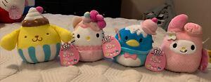 "Sanrio Squishmallow 5"" FULL SET: Hello Kitty, My Melody, Pompompurin, Tuxedosam"