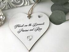 Friendship Sign Diamonds Plaque Best Friend Gift Shabby Chic Heart Christmas S72
