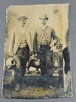 Vintage Tintype Photo Two Well Dressed Men Traveling Or Doctors With Bags