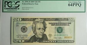 US $20 FEDERAL RESERVE NOTE (2009) PCGS Very Choice New 64PPQ Low Serial #537