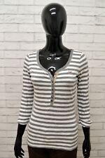 Maglia Donna Shirt Maglietta HOLLISTER Manica 34 Cotone Fantasia Righe TG XS