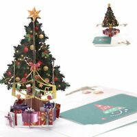 3D Christmas Greeting Card Tree Gifts Postcard Xmas Pop Up Holiday Gift Cards