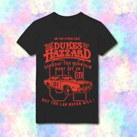 Dukes of Hazzard General Lee Dodge Charger Luke Bo Daisy Duke HD99 Black Tee
