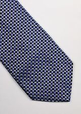 HUGO BOSS TIE WOVEN SILK ABSTRACT BLUE SILVER GREY CLASSIC DESIGNER MEN