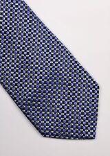 HUGO BOSS TIE WOVEN SILK ABSTRACT BLUE SILVER GREY CLASSIC DESIGNER MEN
