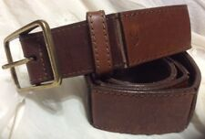 "Unique Vintage Calvin Klein brown Leather Belt size L -1½"" Wide brass buckle"