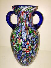 """Magnum Estate Fresh MCM Fratelli Toso Murano Art Glass Millefiori Vase 13.5"""""""