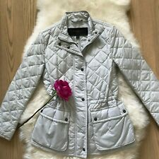 Coach Diamond Quilted Hacking Jacket in Oyster SZ XS