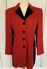 Vintage 1980s Mondi Coat Pillar Box Red & Velvet Size UK 10 USED Gently Worn
