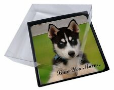 4x Husky Puppy Dog 'Love You Mum' Picture Table Coasters Set in Gift, AD-H67lymC