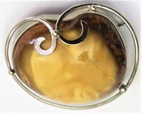 Bernstein Brosche Silber Butterscotch Amber (NB)