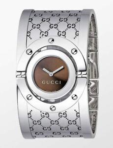 GUCCI Women's Silver Twirl Bangle Watch YA112401