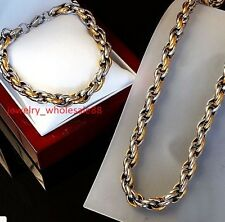 Mens XMAS  Jewlery Set Stainless steel Rope Chain necklace bracelet Gold Silver