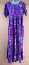 Batik Bali Indonesia Purple short sleeve Long Dress Hippie Boho  NWT - S