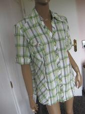 Biba bildschöne Bluse 44 kurzarm  grün/weiß