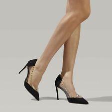 Kurt Geiger Black Perspex Stiletto Heels Size 7/ 40 New Studded Court Shoes