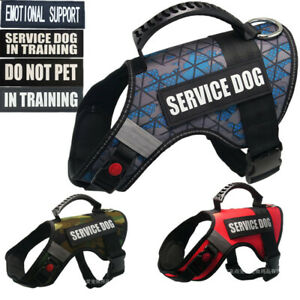 Large Dog Training Harness No Pulling Reflective Soft Vest W/ Removable Patches