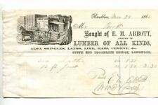 Vintage Illustrated Billhead EM ABBOTT LUMBER Brookline MA 1866 horse & cart