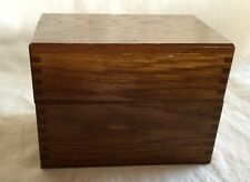 Vintage Wood Dove Tail Hinged Recipe Box With Dividers and Recipes