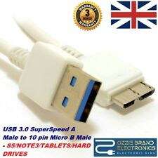 1m HQ USB 3.0 SuperSpeed A to 10 pin Micro B Male Cable WHITE [007402] Cable UK