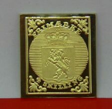 More details for modern gold plated 9g silver stamp ingot norway 4 skilling coat of arms