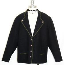"""BLACK LODEN BOILED WOOL Sweater JACKET Women German Winter Over Coat B46"""" 16 L"""