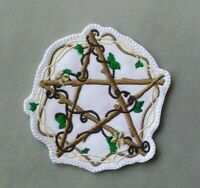 PENTACLE PATCH WICCAN NATURE FLOWER PENTAGRAM IRON ON TO SEW ON WICCAN PATCH