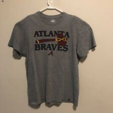 Atlanta Braves '47 Unisex Adult T-Shirt Gray Blue Red Heathered Crew Neck L