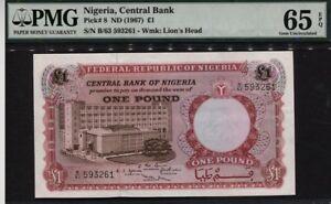 "TT PK 8 1967 NIGERIA CENTRAL BANK 1 POUND ""LIONS HEAD"" PMG 65 EPQ GEM UNC"