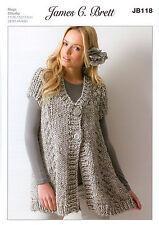 Ladies Waistcoat JB118 Knitting Pattern James C Brett Rustic Mega Chunky
