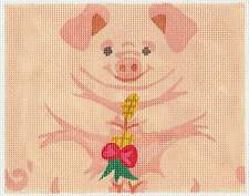 *NEW*  LIZ  Pink PIG Roll up 3-D Ornament handpainted Needlepoint Canvas